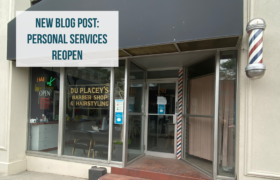 Exterior of local barbershop, text reads new blog post: personal services reopen